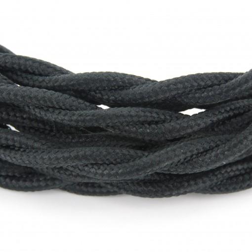 Câble textile soie noir HO3VV-F 2x0,75mm2 3m cuivre
