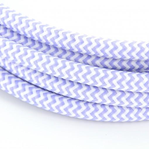 Cable textile soie zigzag lila HO3VV-F 2x0,75mm2 3m