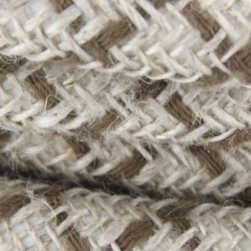 Cable textile coton losange ma HO3VV-F 2x0,75mm2 3m losange marron et lin naturel
