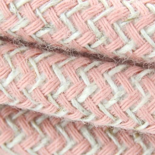 Stoffen snoer, katoen, zigzagmotief, roze, 2 x 0,75 mm2