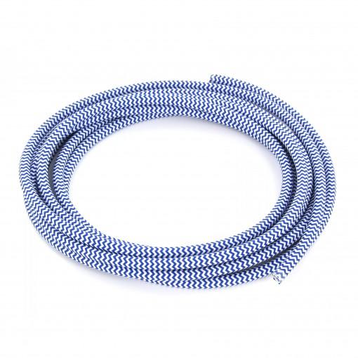 Cable textile soie zigzag bleu HO3VV-F 2x0,75mm2 3m