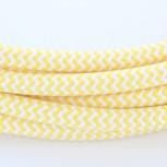 Stoffen snoer, zigzagmotief, geel en wit, 2 x 0,75 mm2