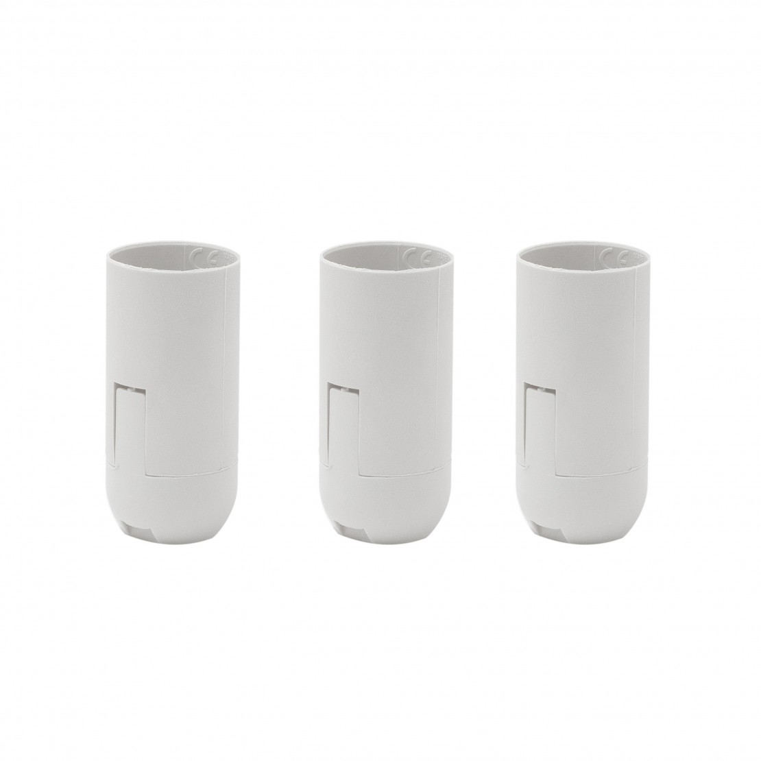 Smooth E14 quick-connect white lamp holder (3 pcs)