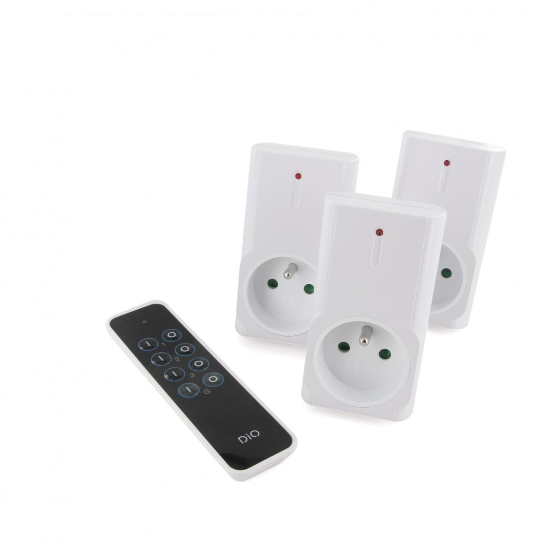 Kit de 3 tomadas telecomandadas DIO First (1500W)