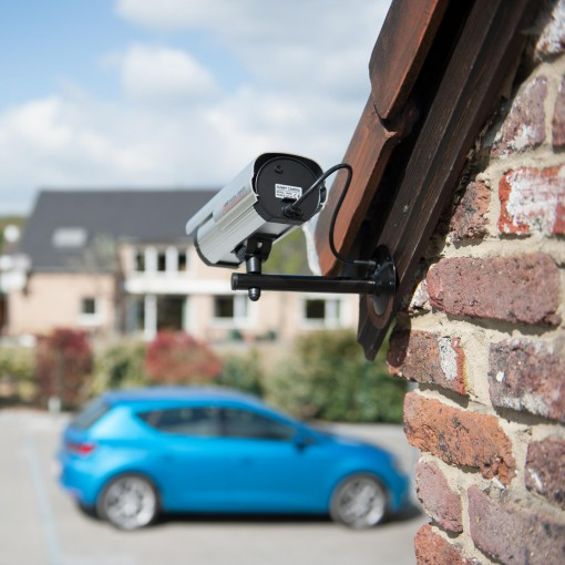 Dummy outdoor camera with LED