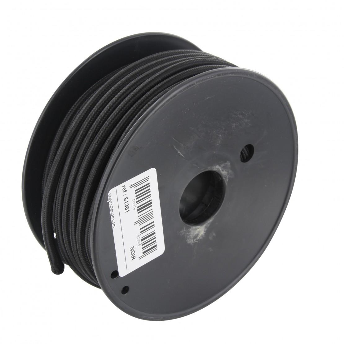 Bobine câble textile noir 20m