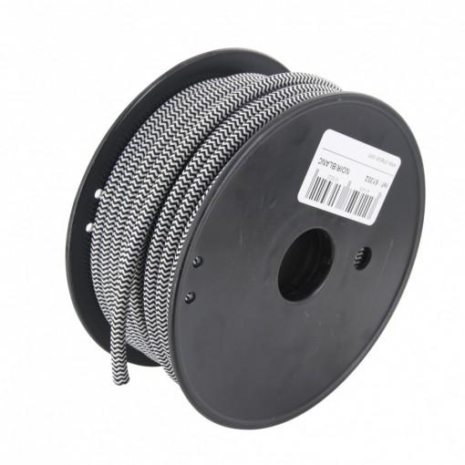 Bobina cable textil blanco/negro 20 m