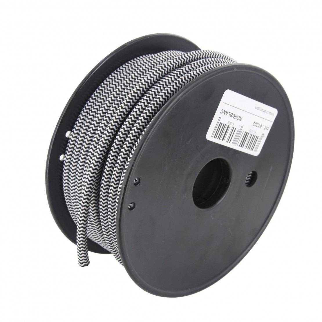 20 m white/ black fabric cable reel