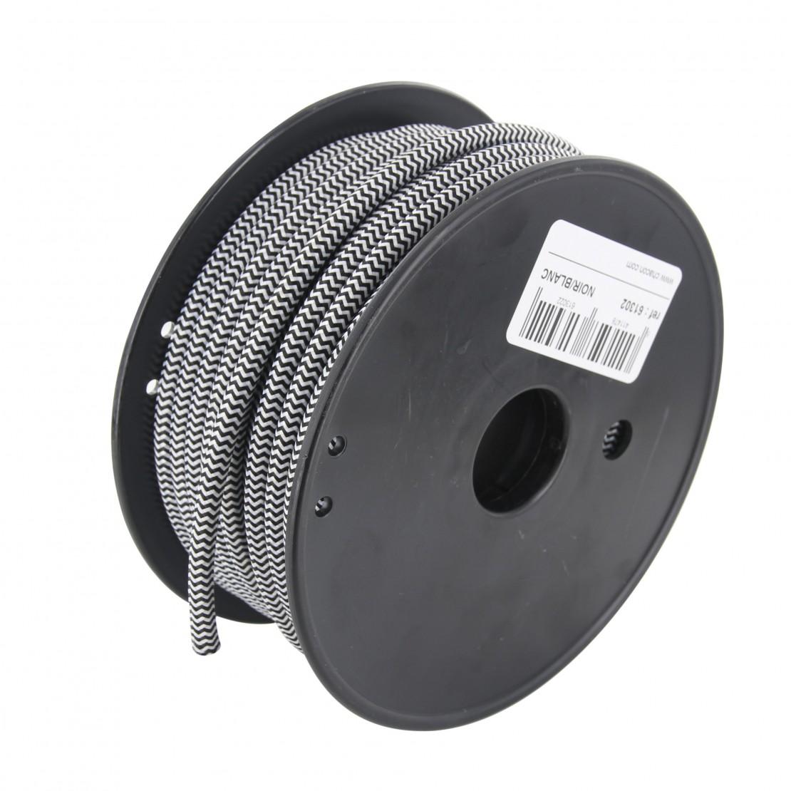 Bobine câble textile blanc/noir 20m