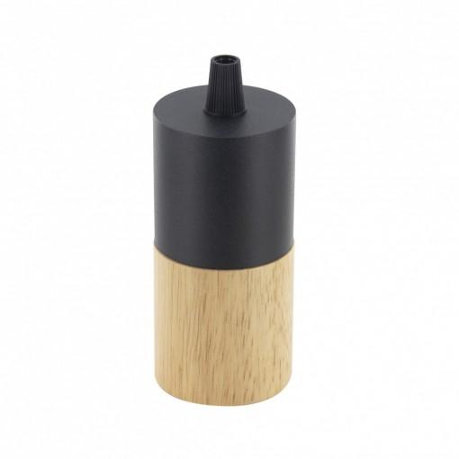 Portalámparas E27 madera y metal negro