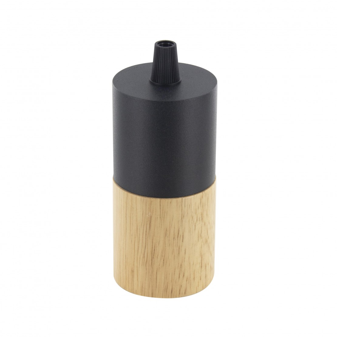 E27 wood and metal lamp holder, black