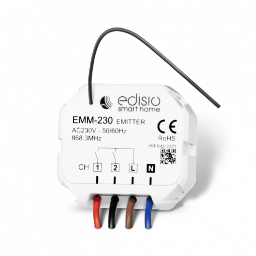 Two-channel transmitter micro-module on 230 V