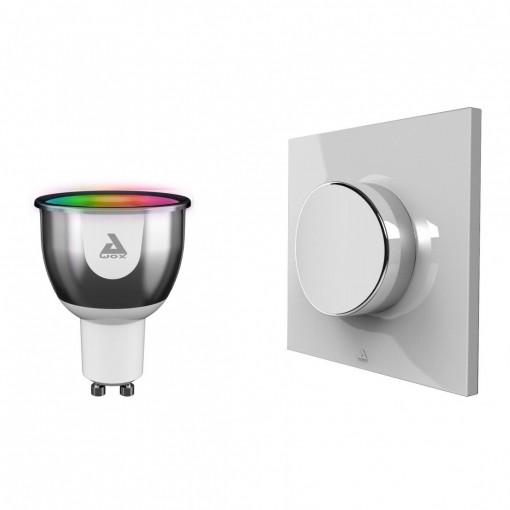 Kit de bombilla LED GU10 color Bluetooth e interruptor inalámbrico
