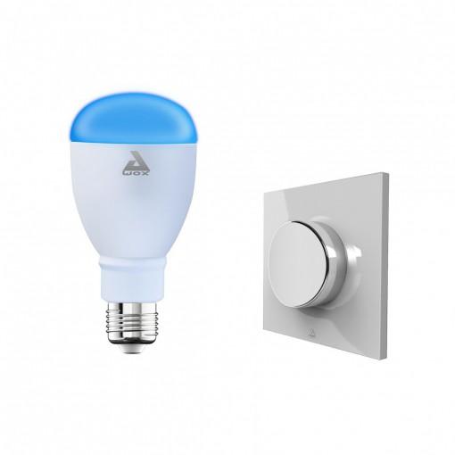 Kit met ledlamp, E27, kleur, Bluetooth en draadloze schakelaar
