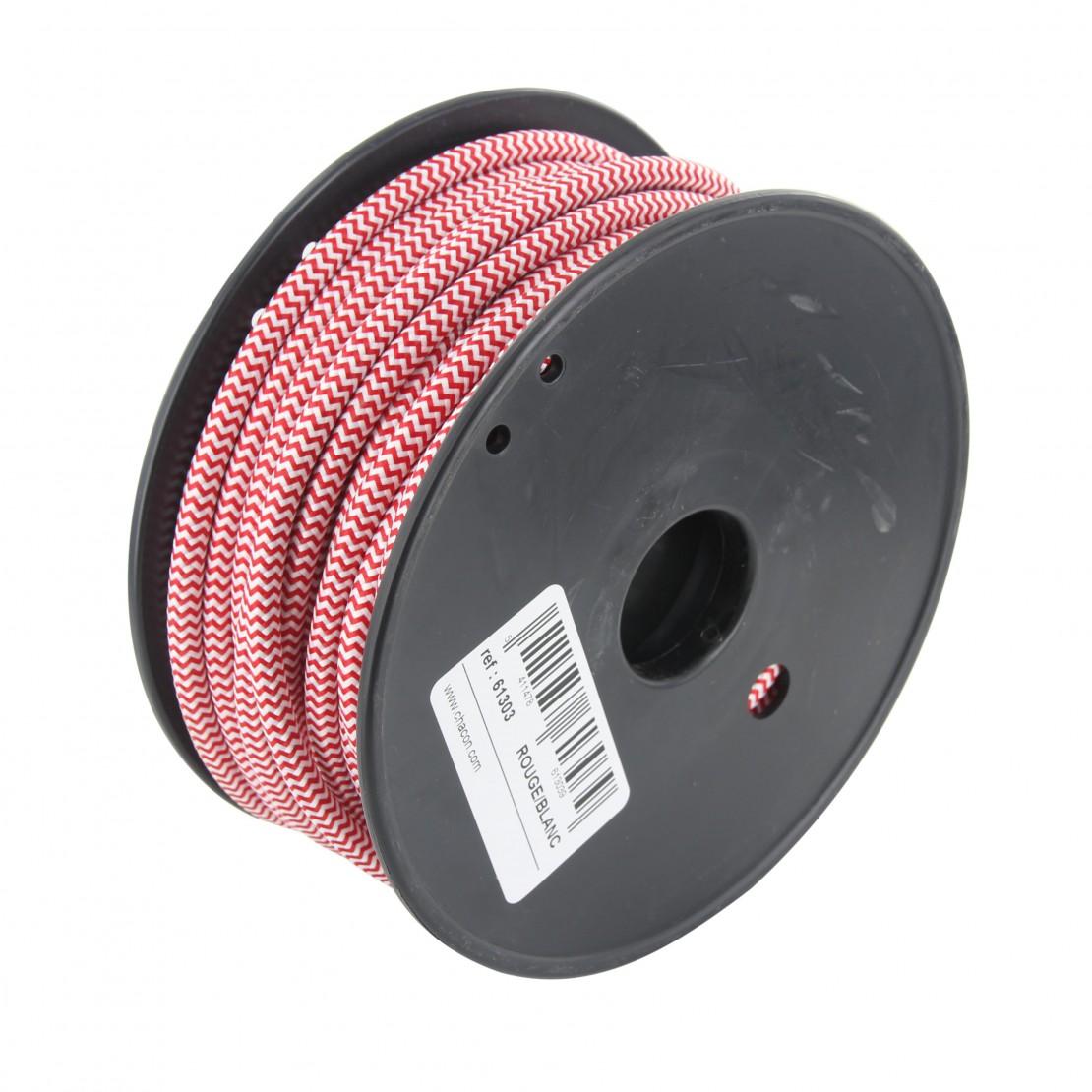 Bobine câble textile blanc/rouge 20m