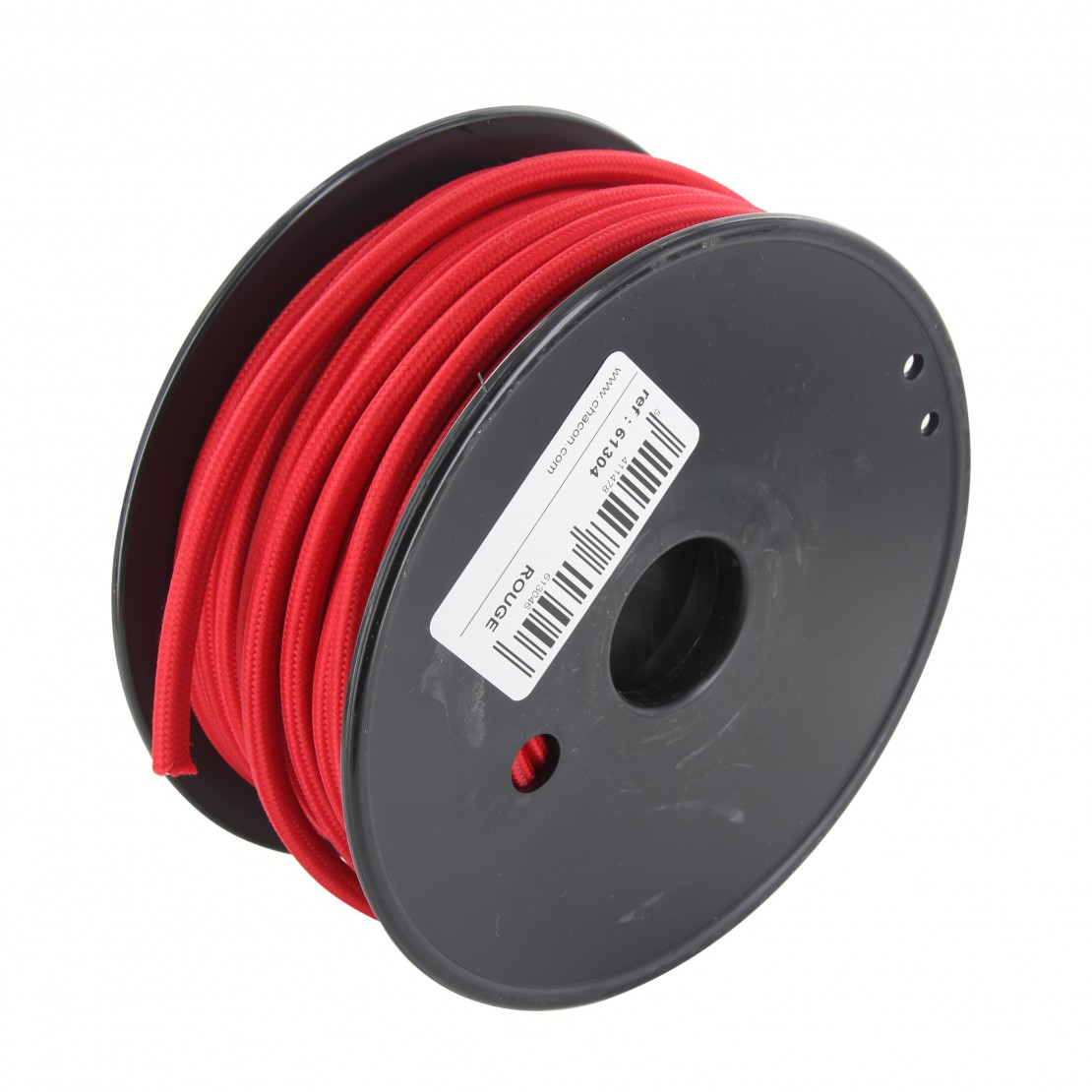 Bobina de cabo têxtil vermelho 20m