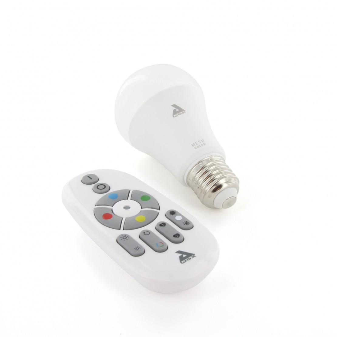 Kit de bombilla E27 color Bluetooth Mesh y mando a distancia