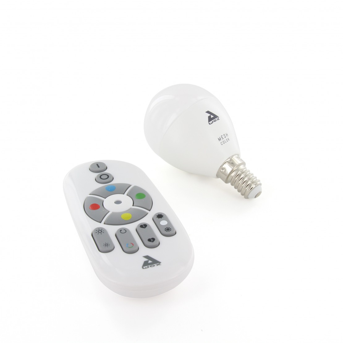 Set of colour E14 Bluetooth Mesh bulb and remote control