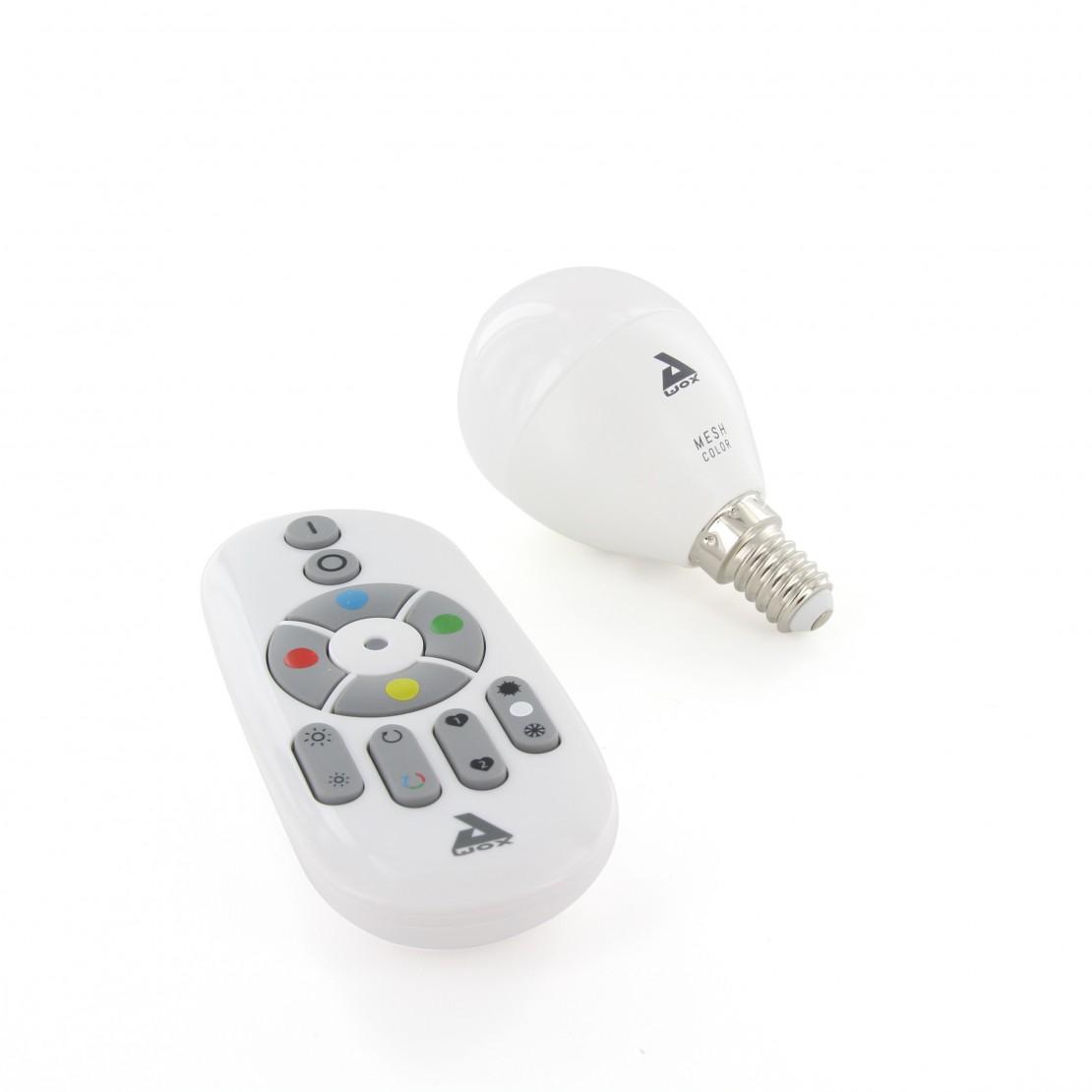 Set of colour E14 Bluetooth Mesh bulb and remote control