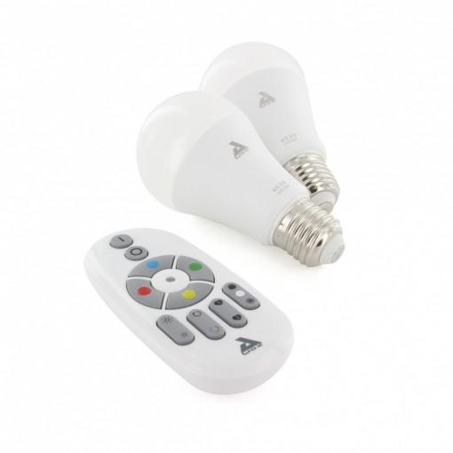 Set of 2 colour E27 Bluetooth Mesh bulbs and remote control