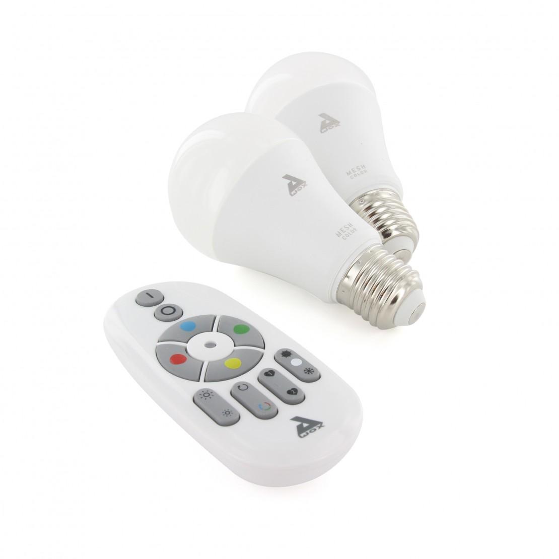 Set 2 ampoules E27 couleur Bluetooth Mesh et télécommande