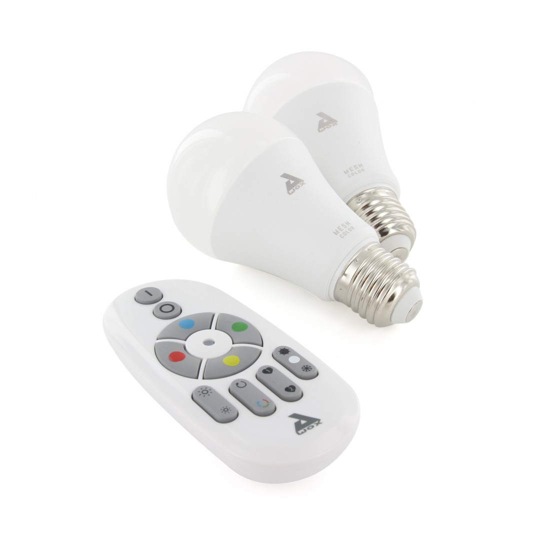 Set of 2 colour E27 Bluetooth Mesh bulbs and remote control