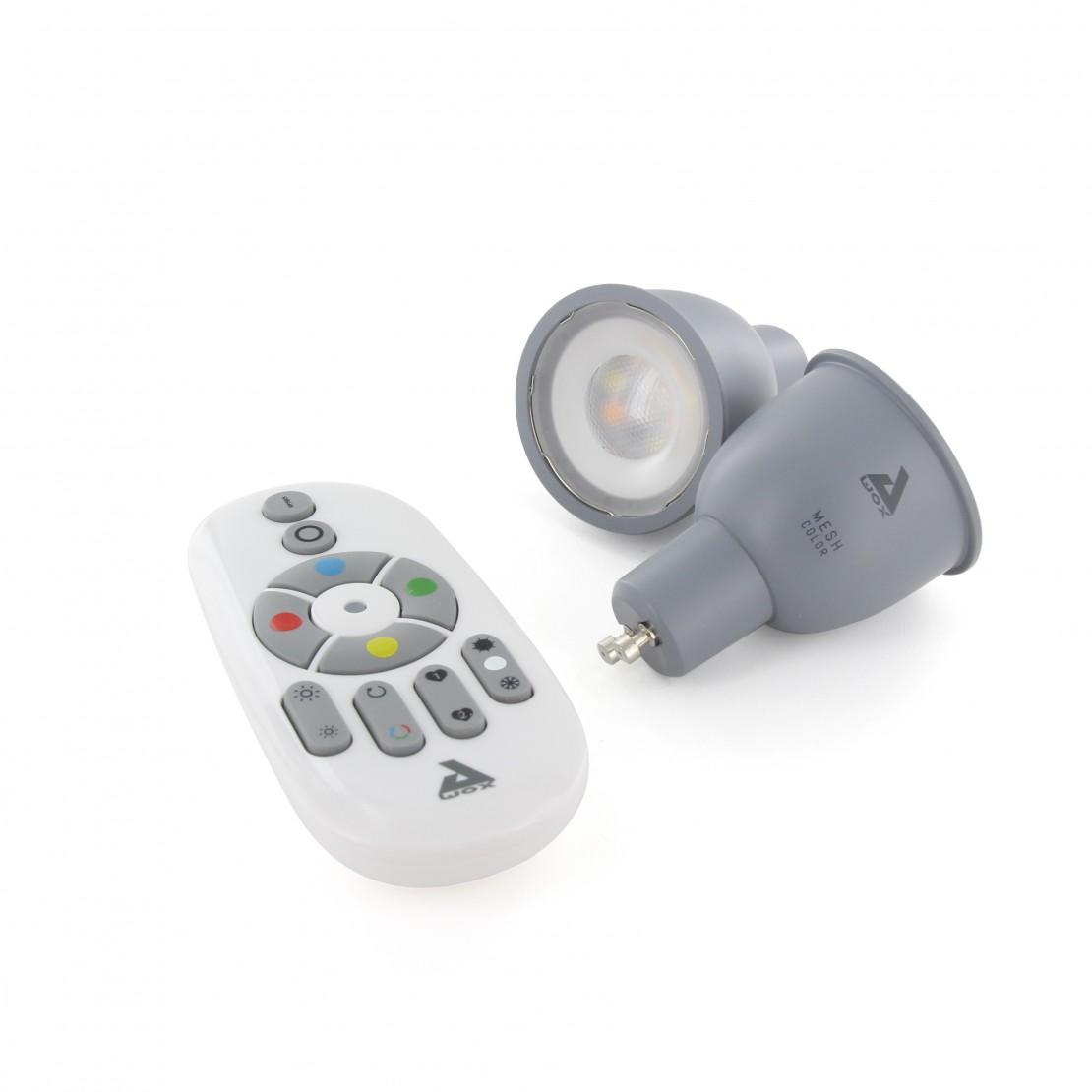 Kit de bombilla GU10 color Bluetooth Mesh y mando a distancia