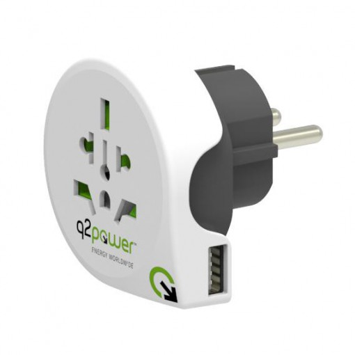 Adaptateur de voyage - q2power World to Europe USB
