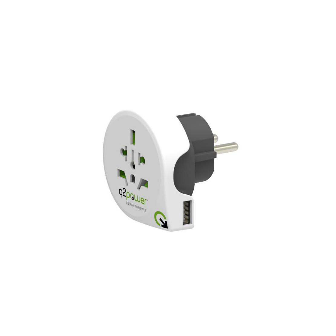 Adaptador de viaje q2powerWorld to Europe USB