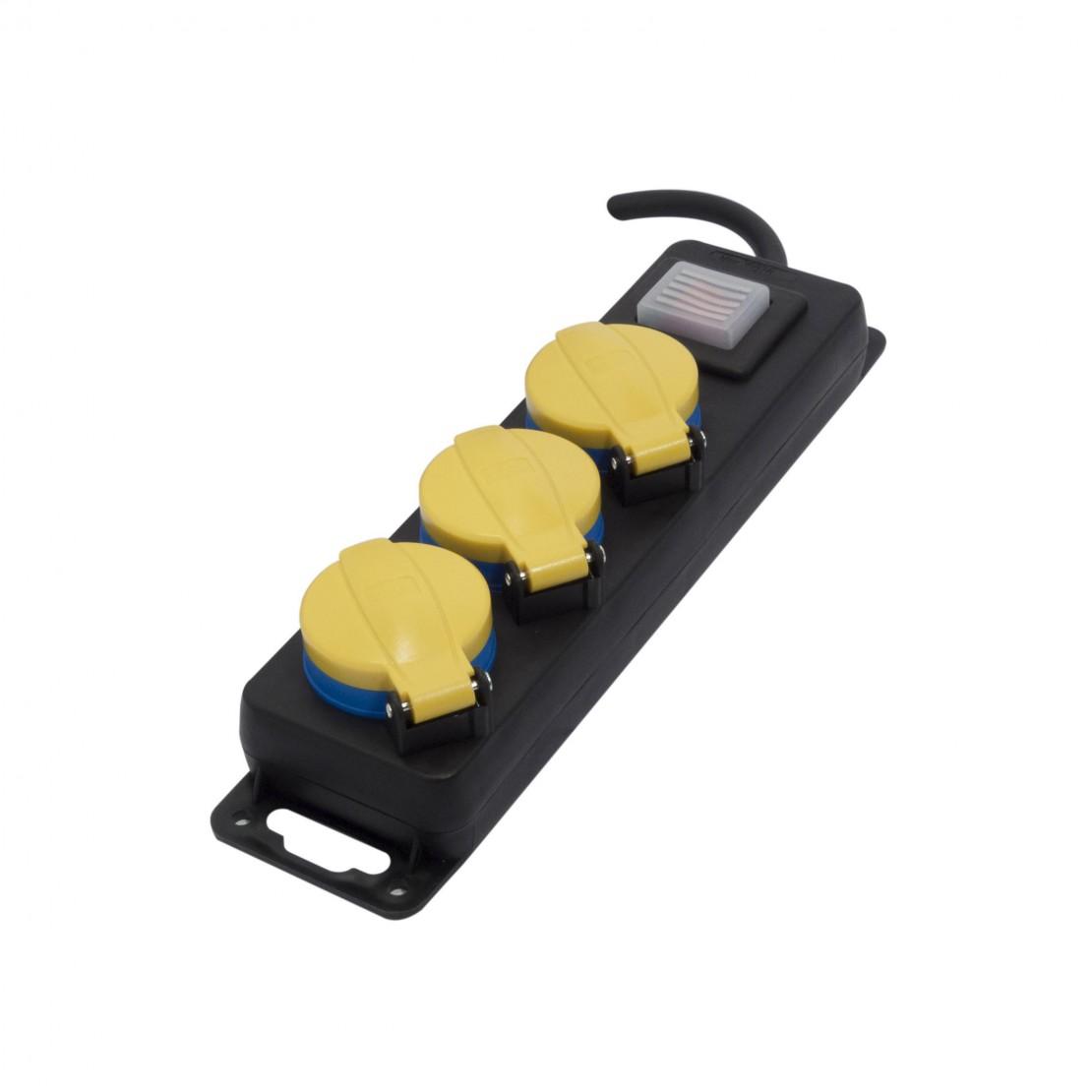 Multistekker 3 x 16A spatwaterdichtmet schakelaar - 3m (SCH)geel en zwart