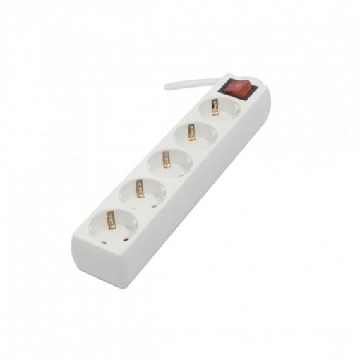 Multistekker 5 x 16A met schakelaar 1,5m 3 x 1.0mm2 - wit (SCH)
