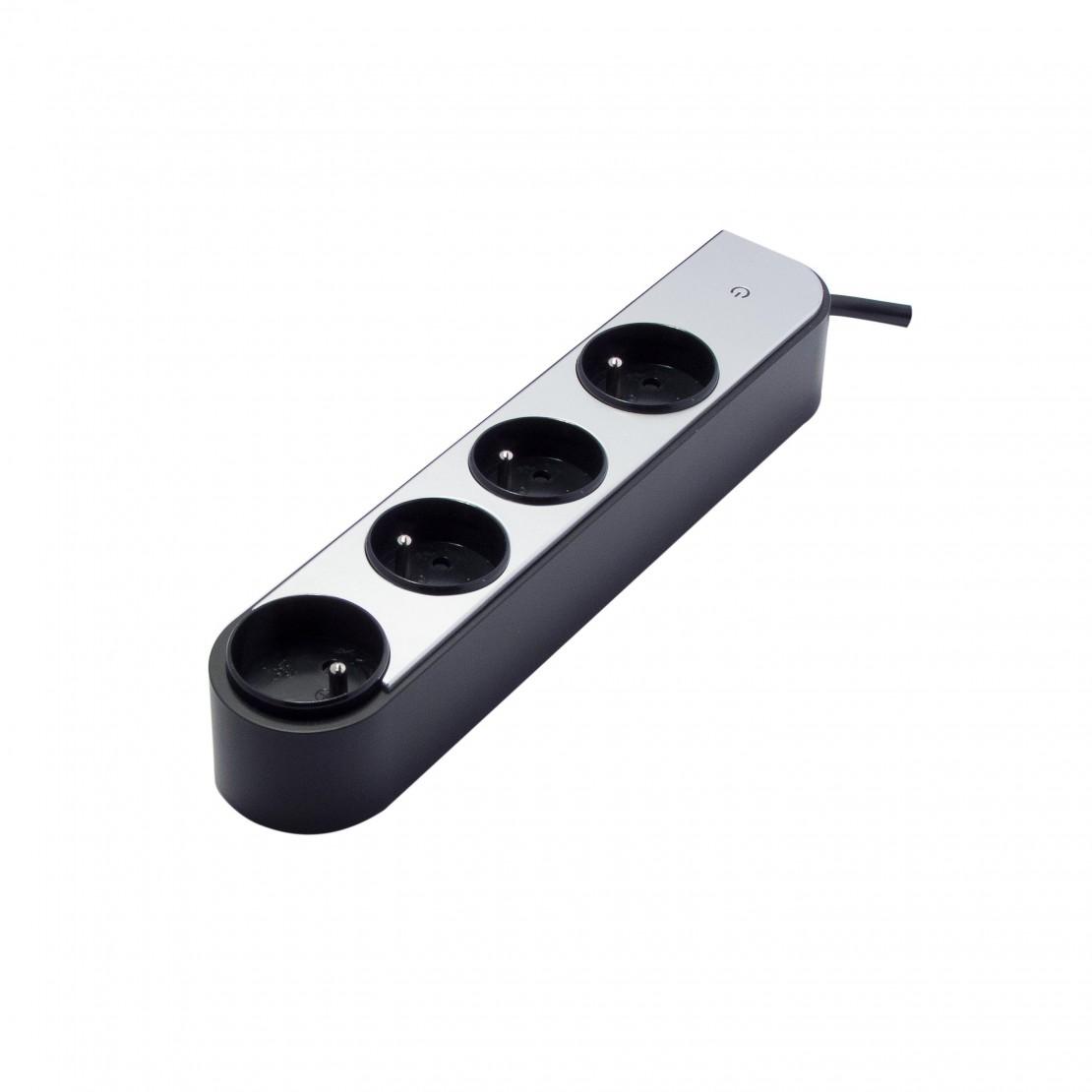 Bloc à prises rotatives 4 pris es (4x rotative)- 1,5 m  - Alu