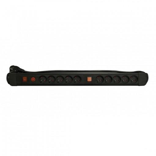 Bloc 10 x 16 A avec deux inter rupteurs - 1,5 m - Noir