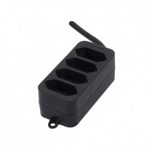 Multistekker 4 x 2,5A - 1,5m -zwart