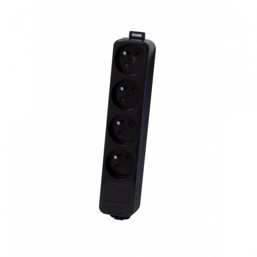 Multistekker 4 x 16A - zondersnoer- zwart