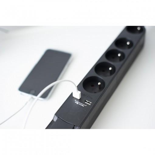 Bloc Design avec inter. 5 x 16 A + 2 x USB  - 1,5 m - noir