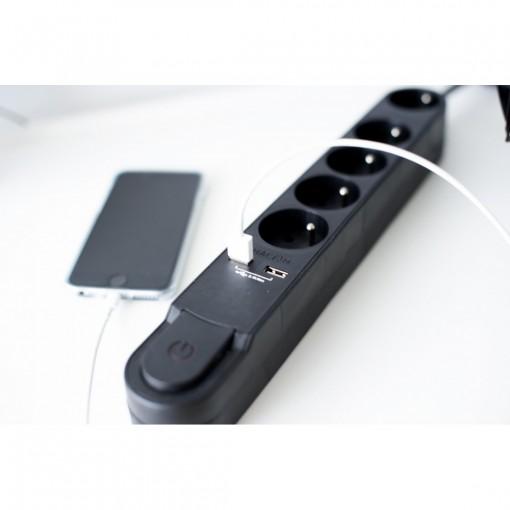 Design multistekker met schak.5 x 16A + 2 x USB - 1,5m - zwart