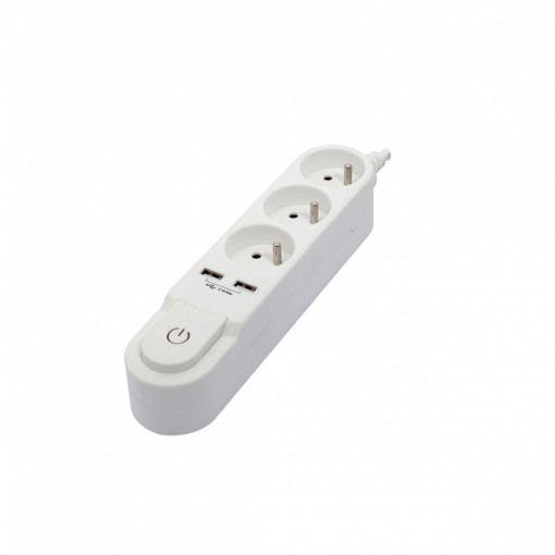 Bloc Design avec inter. 3 x 16 A + 2 x USB  - 3 m - blanc