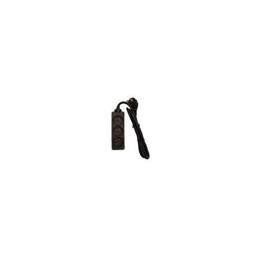 Multistekker 3 x 16A - 1,5m -noir