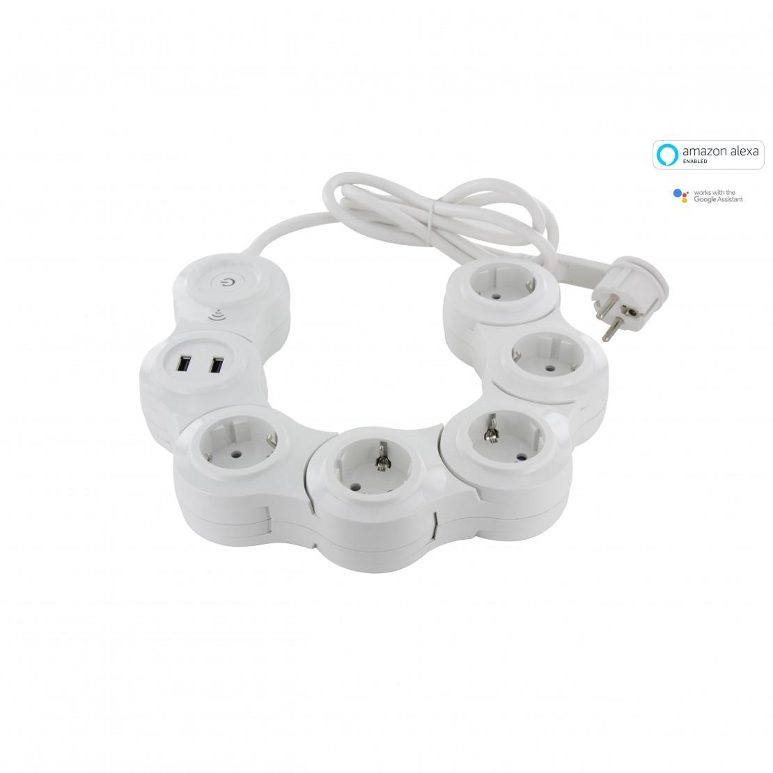 Snake Wifi Multistekker - 5 x16 A+ 2 x USB - 1.5 m - blanc