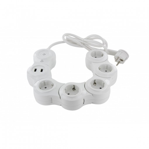 Multiprise Snake Wifi - 5 x 16 A + 2 x USB - 1.5 m - SCH
