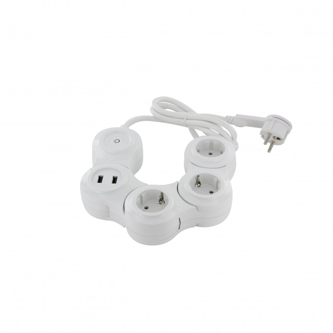 Snake Multistekker - 3 x 16 A+2 x USB - 1.5 m - blanc