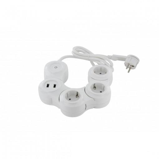 Multiprise Snake - 3 x 16 A + 2 x USB - 1.5 m - SCH
