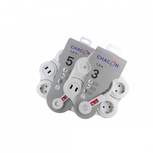 Snake Multistekker - 5 x 16 A+2 x USB - 1.5 m - blanc