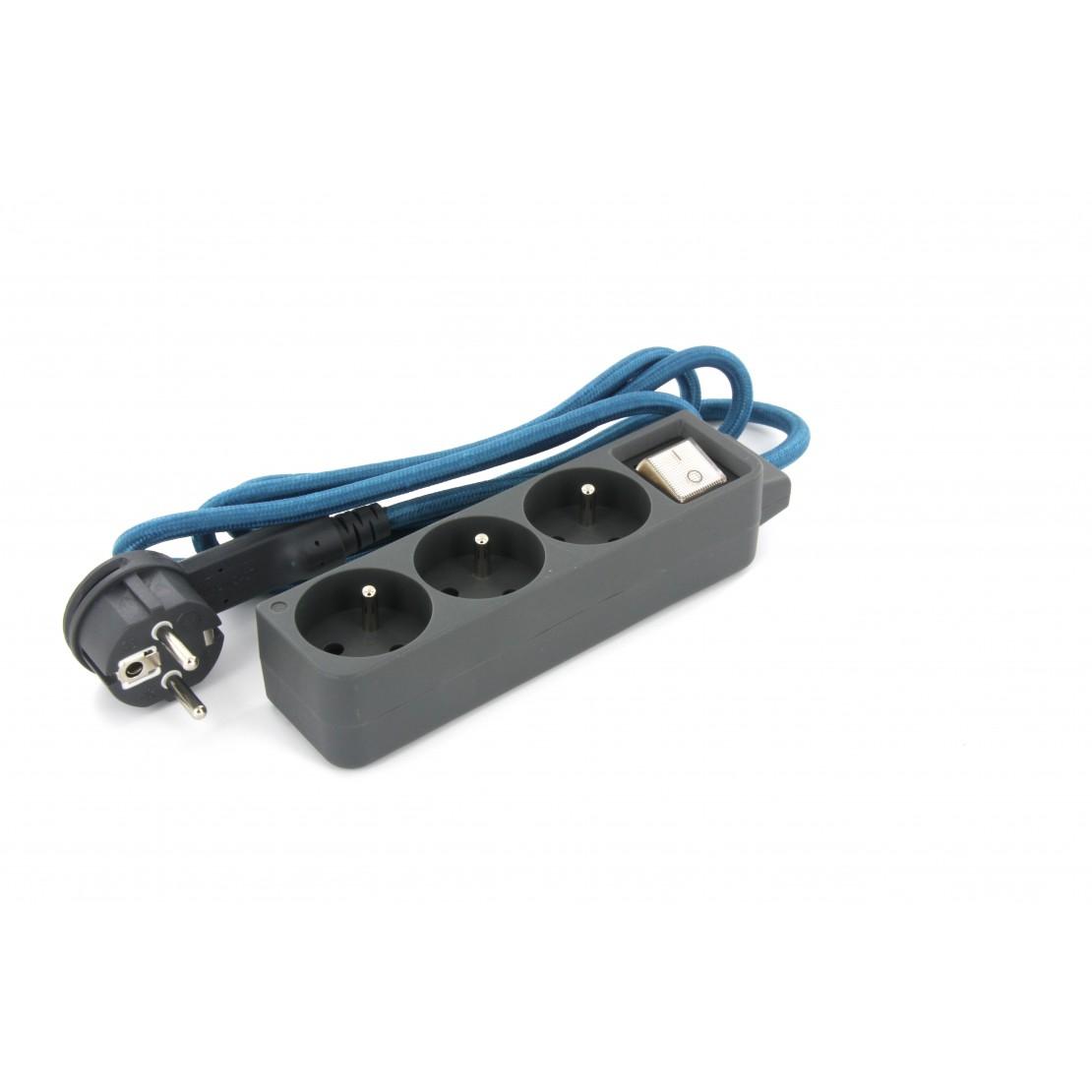 Mini bloc gris deco 3x16A + câble textile bleu 1,5m + fiche plate