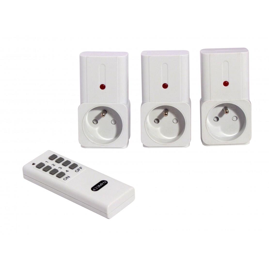 Set de 3 prises télécommandées on/off + télécommande