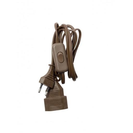 Verlengsnoer  met schakelaar -HO3VVH2F- 2 x 0,75mm2 - 2m -bruin