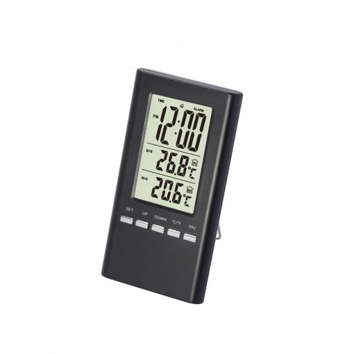 Binnen- en buiten thermometermet draad