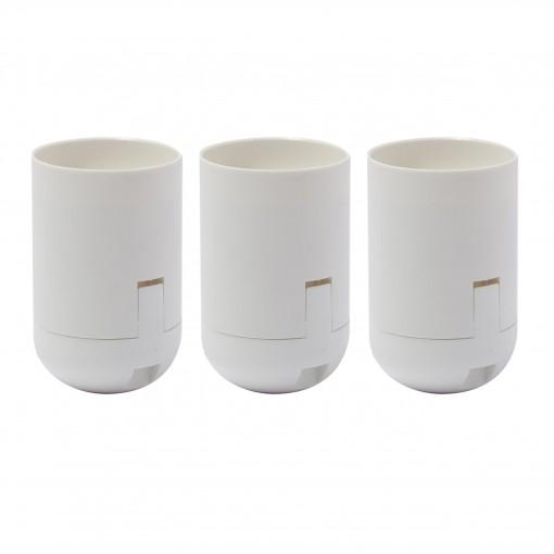 Douille lisse E27 blanc- 3 pcs