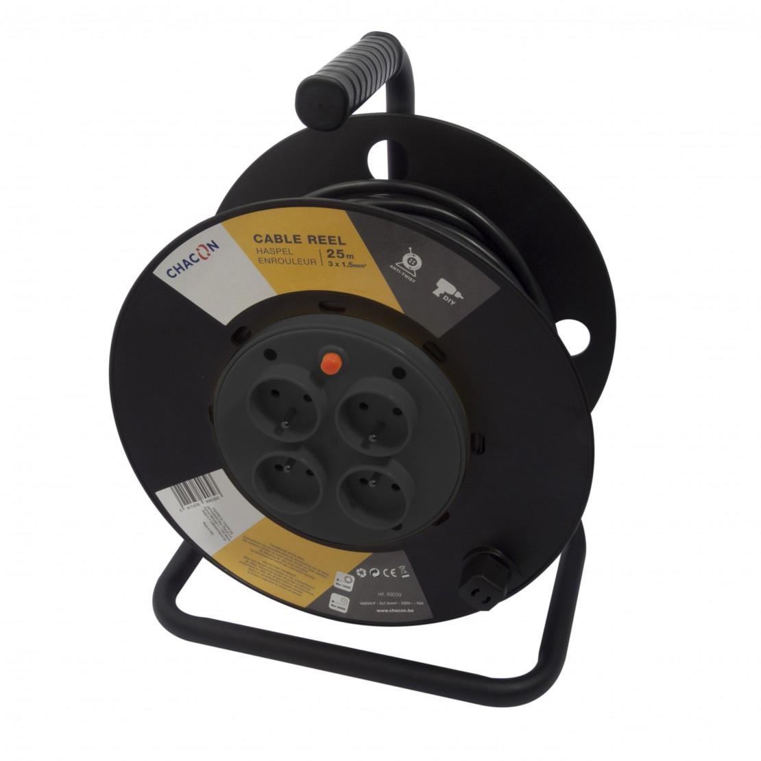 Kabelhaspel 4 x 16A met vastestekkersHO5VV-F 3 x 1,5mm2 - 25m